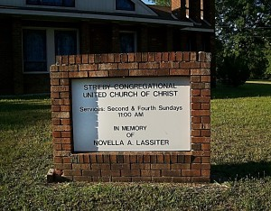 Figure 50-Strieby Church Sign in memory of Vella Lassiter