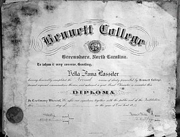 Vella Lassiter Bennett College Diploma