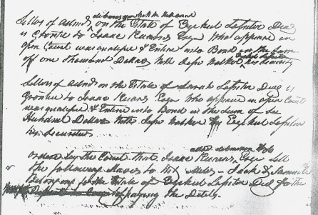 Letters of Admin Ezekiel & Sarah Lassiter