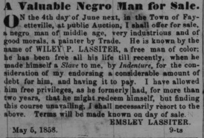Wiley Lassiter sale notice