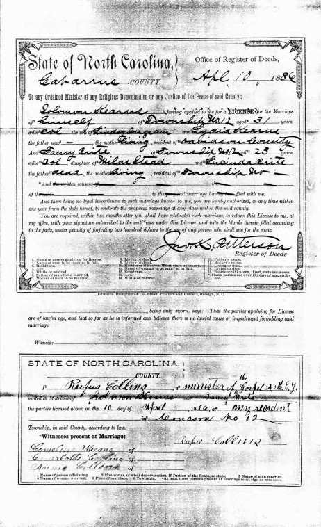 Marriage License of Solomon Kearns and Fannie Brite