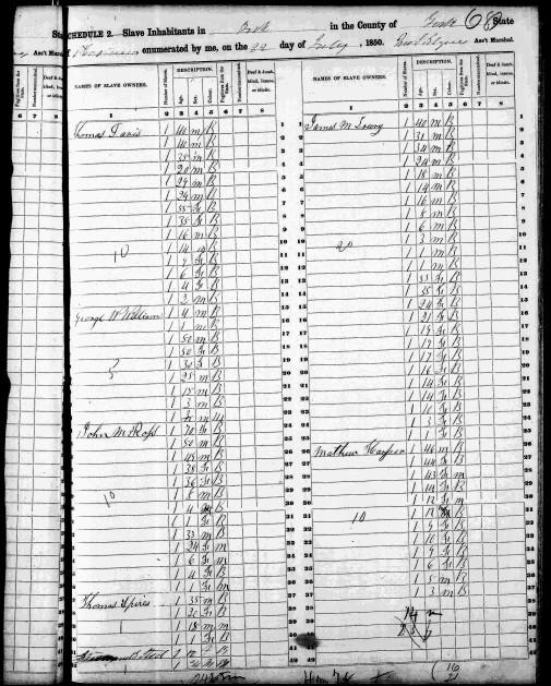 1850 slave schedule George W Williams